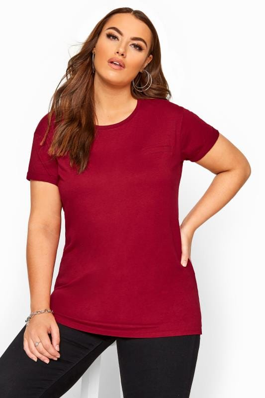 Plus Size Jersey Tops Cranberry Red Pocket T-Shirt