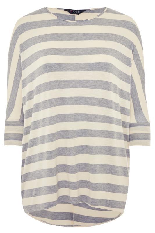 Cream & Grey Stripe Extreme Dipped Hem Top
