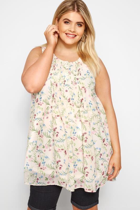 Plus Size Chiffon Blouses Cream Floral Print Chiffon Vest Top