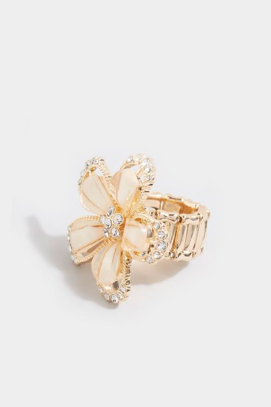 Cream Diamante Flower Ring