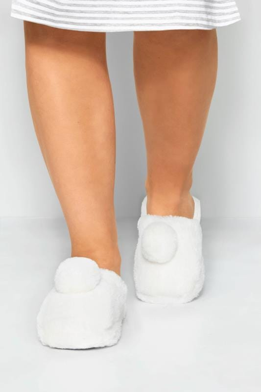 White Faux Fur Pom Pom Slippers In Wide Fit