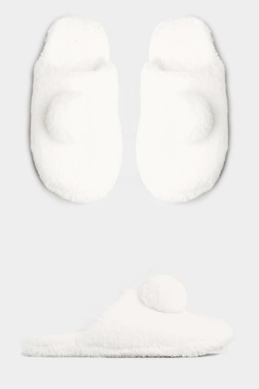 Plus Size Slippers Cream Faux Fur Pom Pom Slippers In Wide Fit