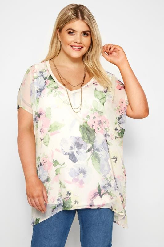 Plus Size Chiffon Blouses Cream Floral Chiffon Cape Top