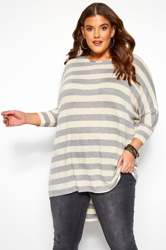 Plus Size Dipped Hem Tops Cream & Grey Stripe Extreme Dipped Hem Top