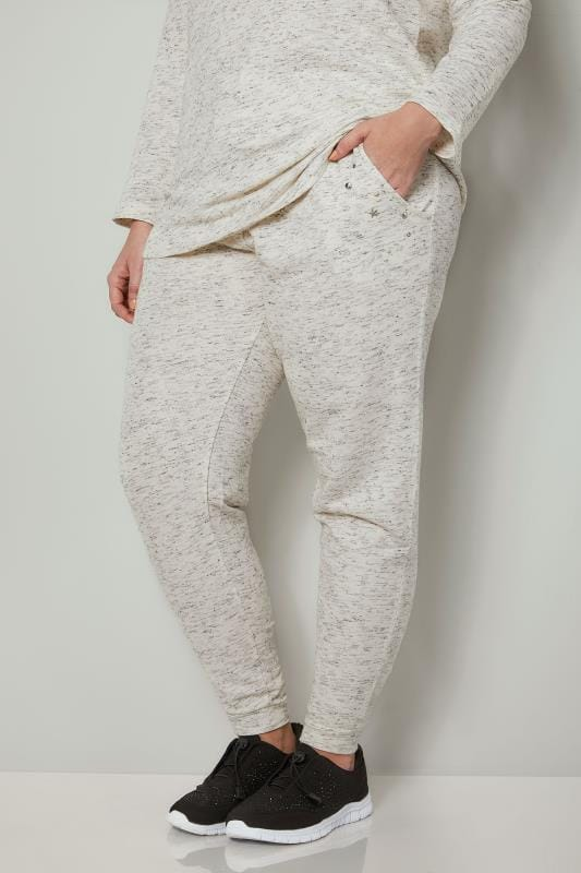 Cream Joggers With Faux Pearl Embellishment