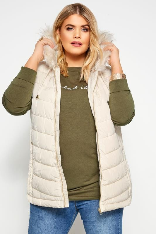 Plus Size Gilets Cream Panelled Gilet With Faux Fur Trim Hood