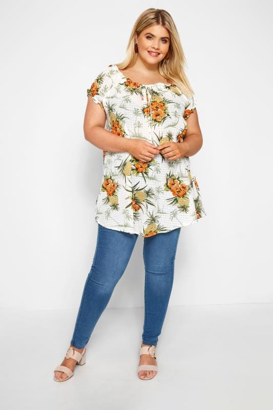 Cream Pineapple Tropical Print Gypsy Top