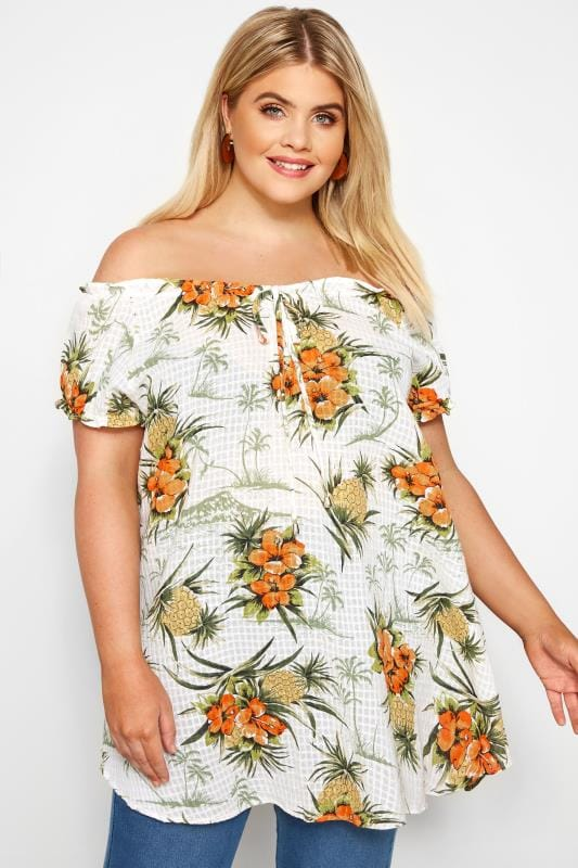 Plus Size Gypsy Tops Cream Pineapple Tropical Print Gypsy Top