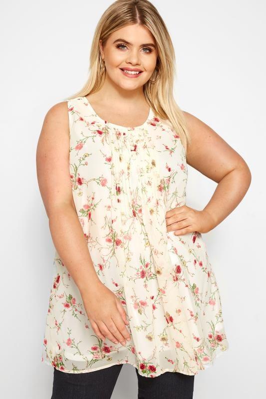 Plus Size Chiffon Blouses Cream & Pink Floral Print Chiffon Vest Top
