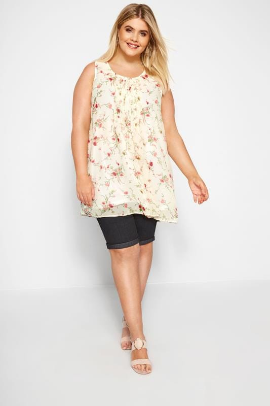 Cream & Pink Floral Print Chiffon Vest Top