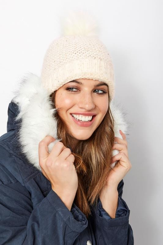 Plus Size Hats Cream Sequin Pom Pom Hat