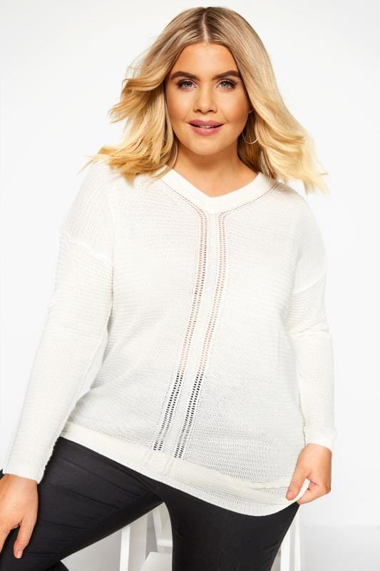 Cream V-Neck Jumper