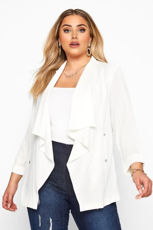 Plus Size Jackets White Crepe Waterfall Jacket