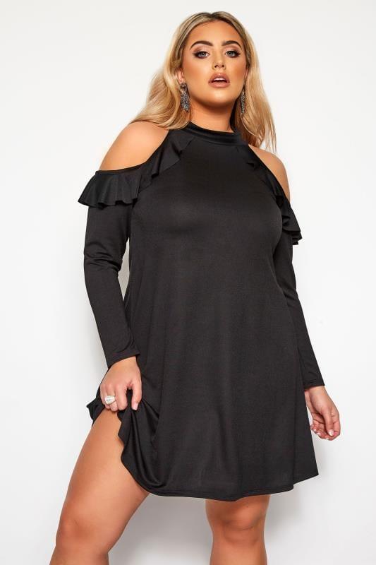Plus Size Black Dresses LIMITED COLLECTION Black Crepe Cold Shoulder Frill Dress