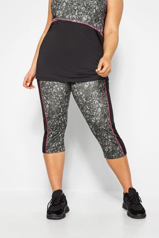 Plus Size Active Leggings ACTIVE Grey Leopard Print Panel Cropped Leggings