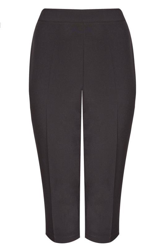 Zwarte driekwart broek met plooi, grote maten 44 64 | Yours