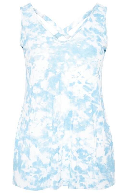 Plus Size Vests & Camis Blue Tie Dye Cross Back Vest Top