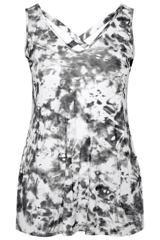 Black & White Tie Dye Cross Back Vest Top