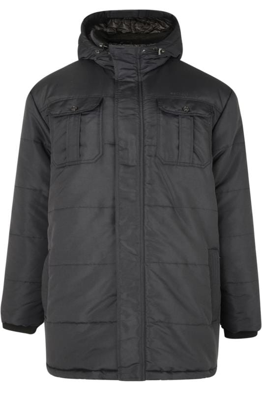 Plus-Größen Jackets CROSSHATCH Black Padded Parka Jacket