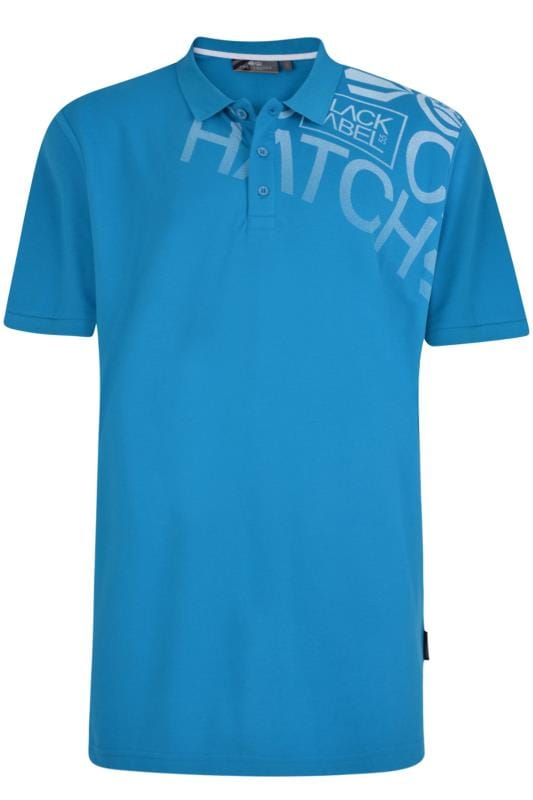 Plus Size Polo Shirts CROSSHATCH Blue Pique Cotton Polo Shirt