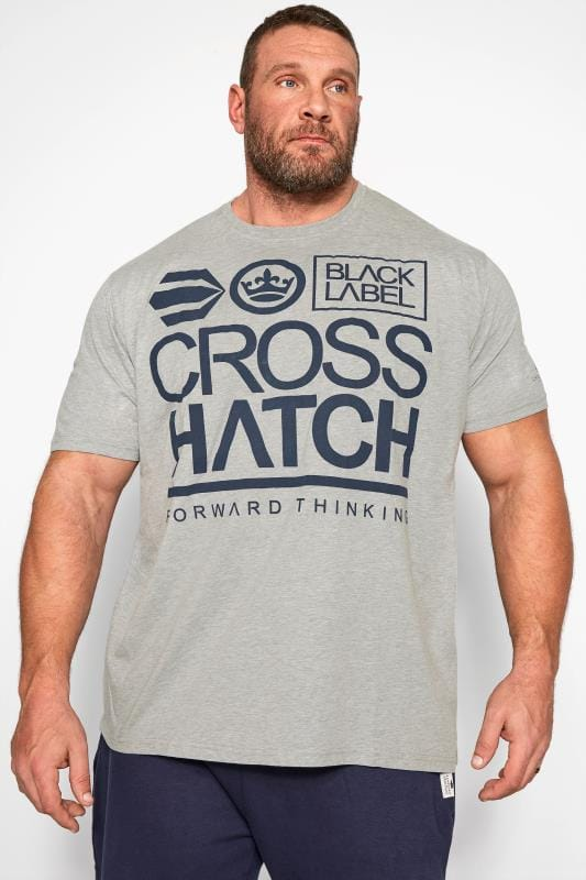 Plus Size T-Shirts Crosshatch Grey Graphic Print T-Shirt