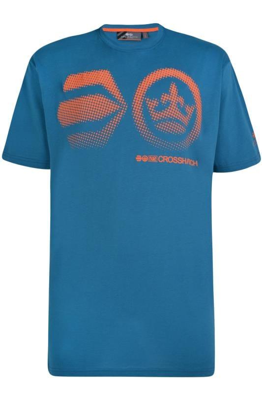 T-Shirts CROSSHATCH Blue & Dark Orange Graphic Print T-Shirt 201552