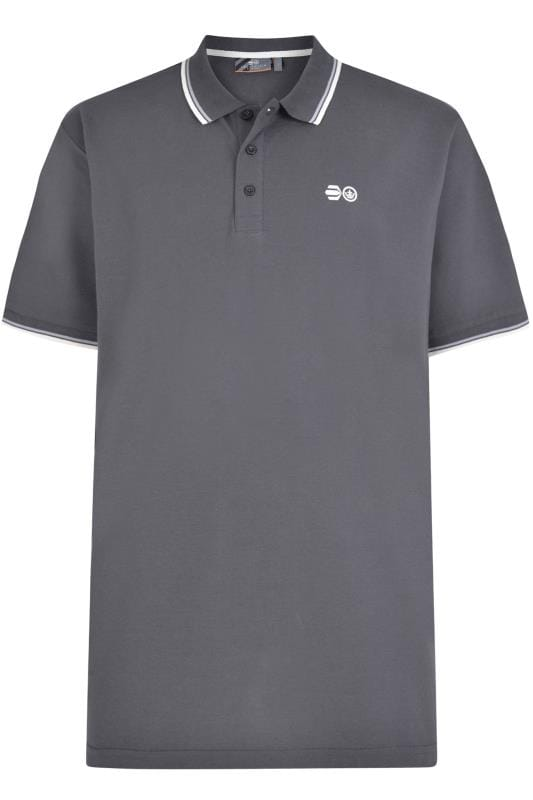 Polo Shirts Tallas Grandes Crosshatch Grey Tipped Polo Shirt