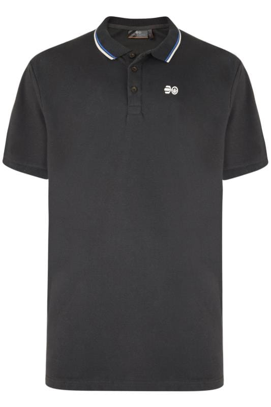 Polo Shirts Tallas Grandes Crosshatch Black Cotton Polo Shirt