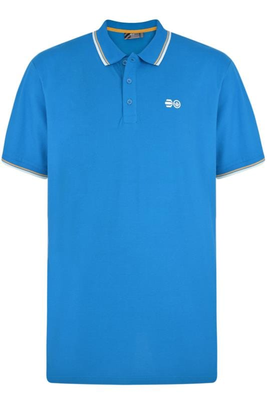 Большие размеры | Polo Shirts Crosshatch Light Blue Tipped Polo Shirt