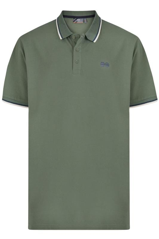 Men's Polo Shirts Crosshatch Green Tipped Polo Shirt