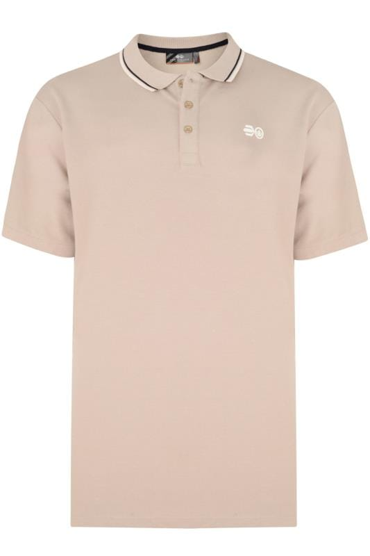Большие размеры | Polo Shirts Crosshatch Khaki Tipped Polo Shirt