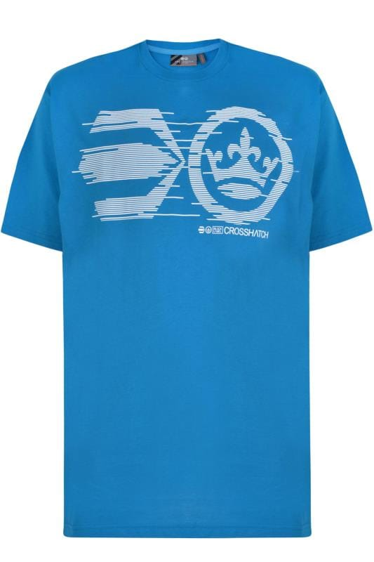 Plus Size T-Shirts Crosshatch Blue Graphic Print T-Shirt