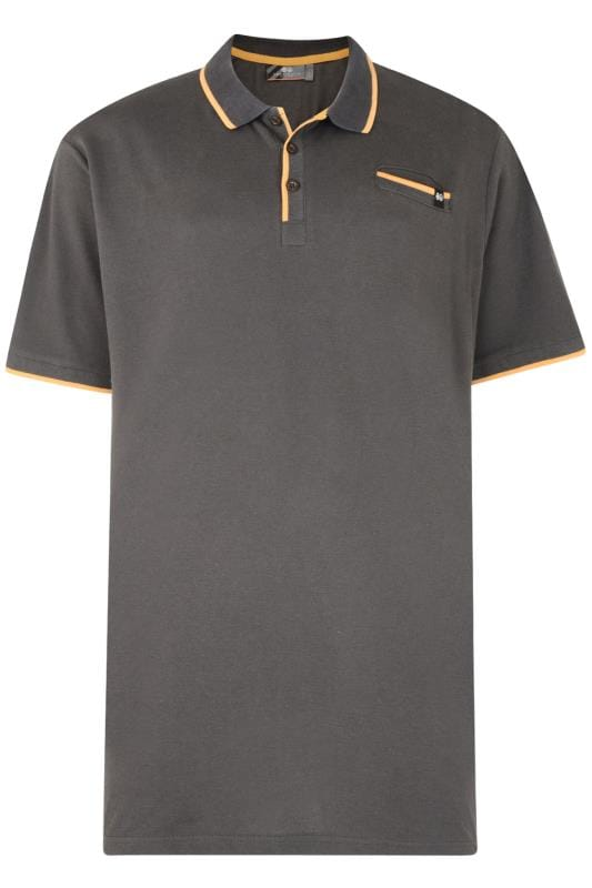Plus Size Polo Shirts CROSSHATCH Black & Yellow Tipped Polo Shirt