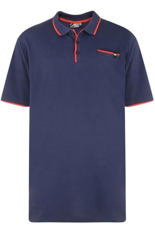 CROSSHATCH Navy & Orange Tipped Polo Shirt