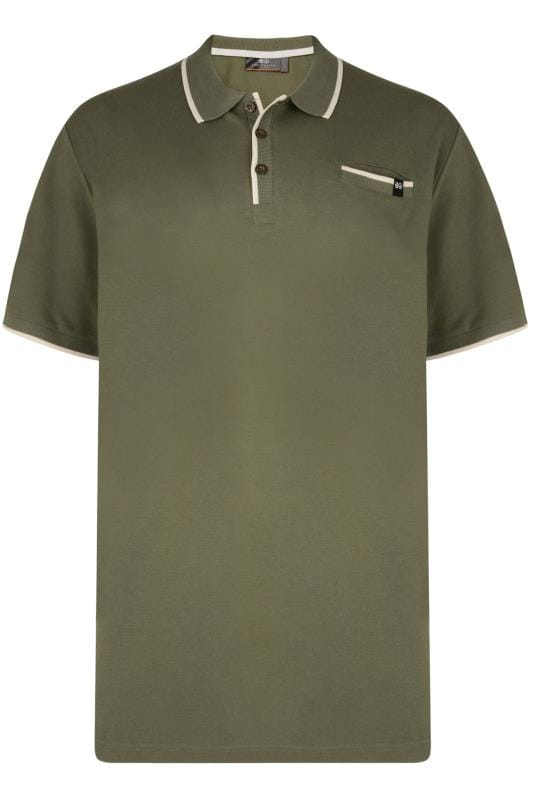 Polo Shirts Tallas Grandes CROSSHATCH Green & White Tipped Polo Shirt