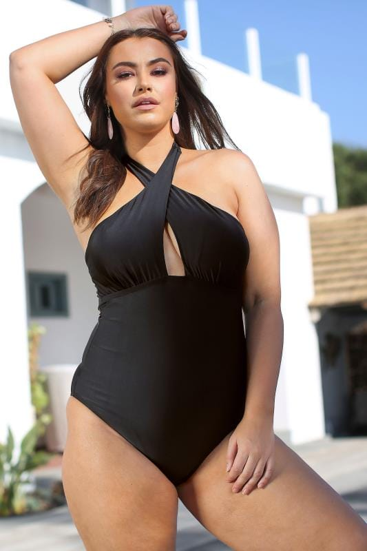 Plus Size  Black Crossover Halter Neck Swimsuit