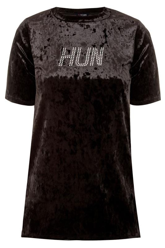 LIMITED COLLECTION Black Crushed Velour 'HUN' Slogan T-Shirt