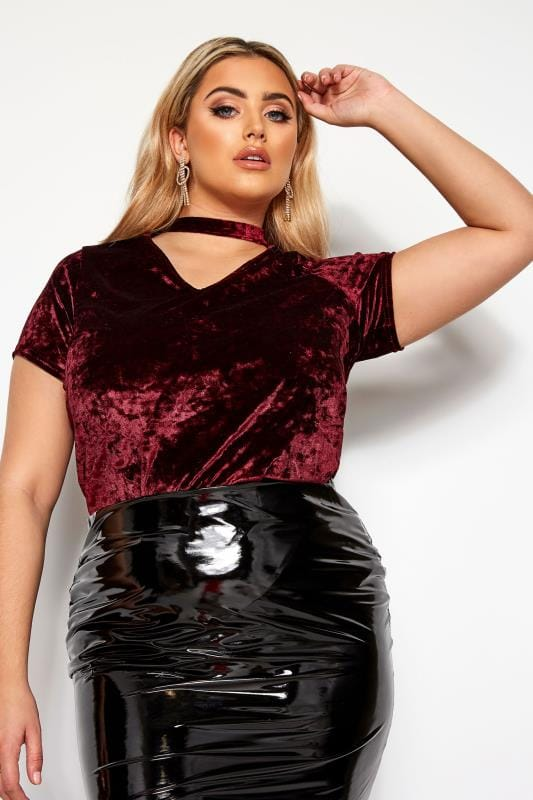 Plus Size Party Tops LIMITED COLLECTION Burgundy Velour Choker Top