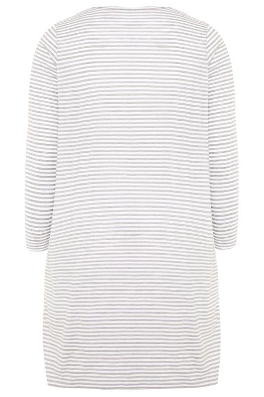 Grey & White Striped Slogan Nightdress