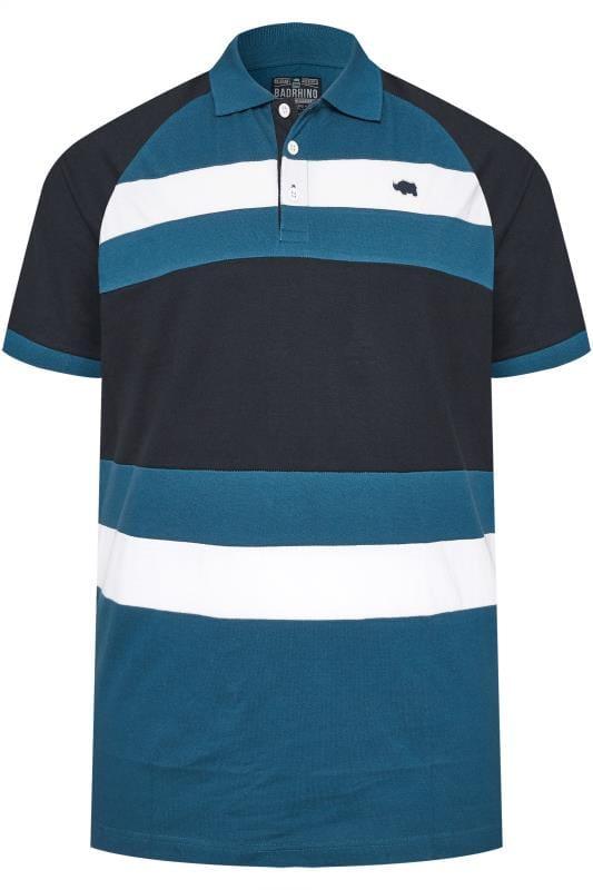 Polo Shirts BadRhino Blue & White Striped Polo Shirt
