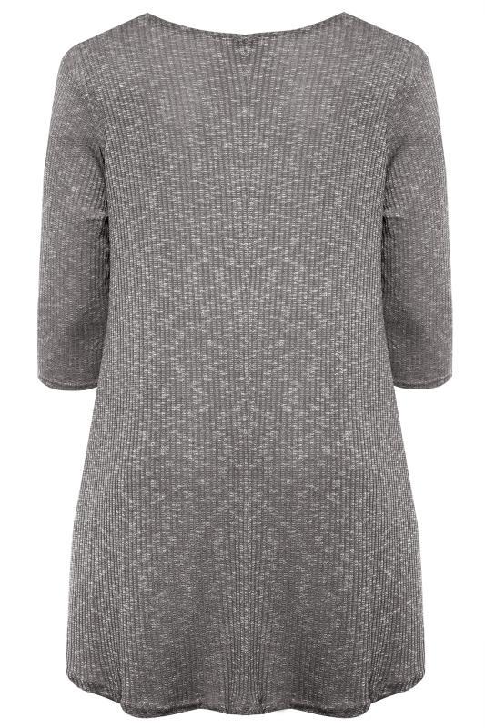 Charcoal Grey Marl Ribbed Tunic Top