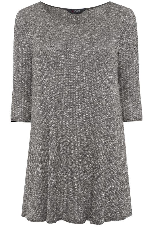 Plus Size Jersey Tops Charcoal Grey Marl Ribbed Tunic Top
