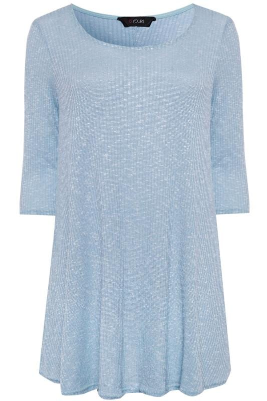 Plus Size Jersey Tops Light Blue Marl Ribbed Tunic Top