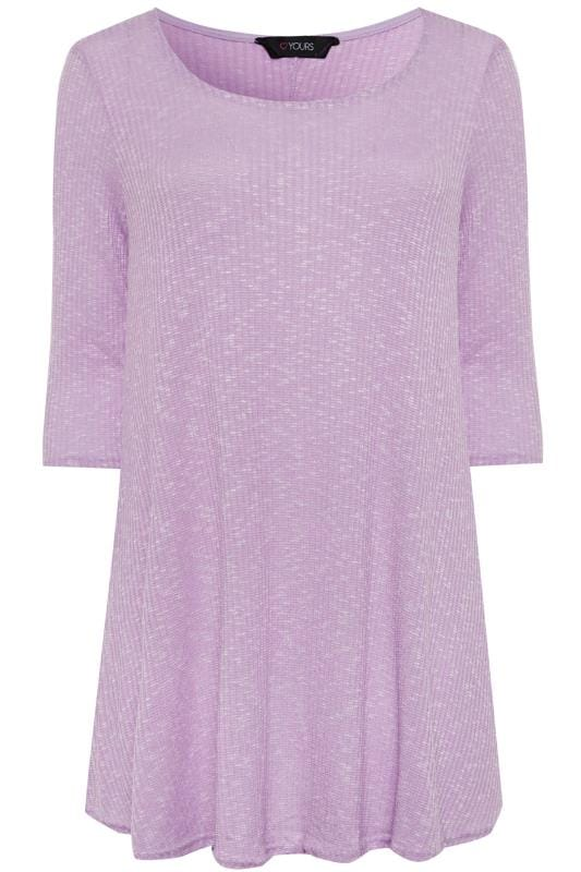 Plus Size Jersey Tops Lilac Marl Ribbed Tunic Top