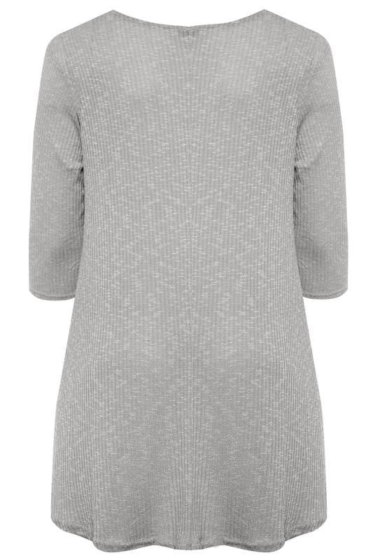 Silver Grey Marl Ribbed Tunic Top