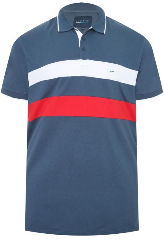 Polo Shirts BadRhino Blue Textured Stripe Polo Shirt 202104