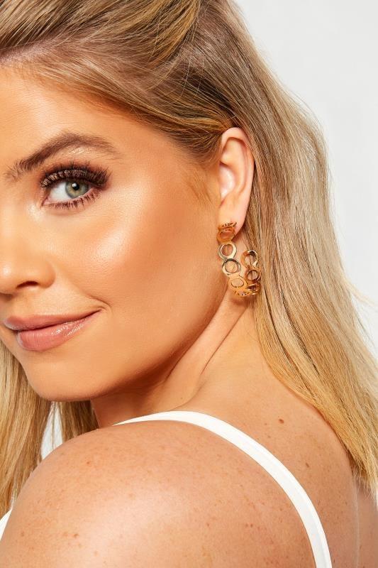 Plus-Größen Bracelets Gold Cutout Circle Hoop Earrings