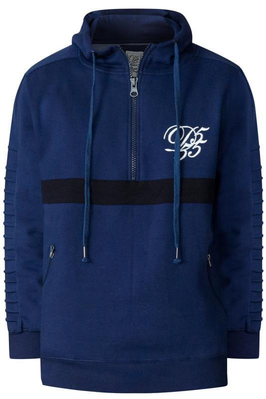Große Größen Hoodies D555 Couture Navy Half Zip Hoodie