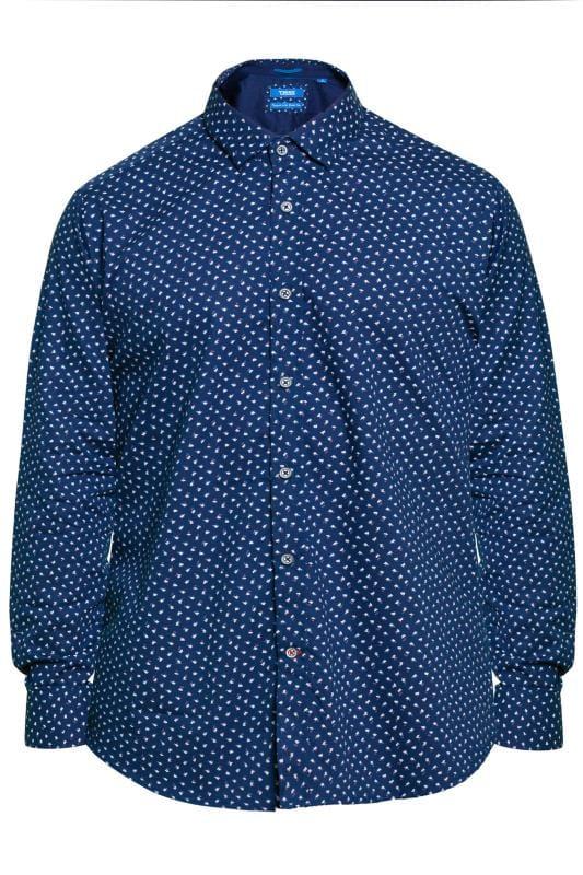 Smart Shirts D555 Blue Leaf Print Shirt 201751