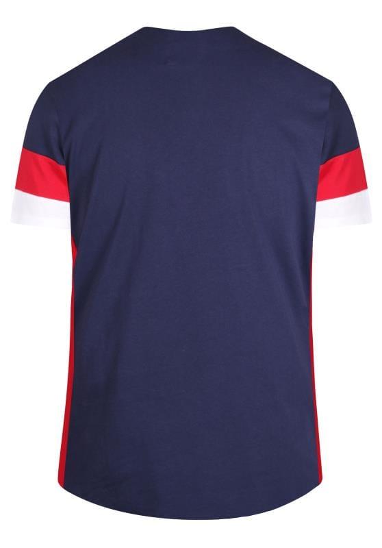 D555 COUTURE Navy Colour Block T-Shirt